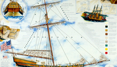 Rendering and master plan for Disney's Golden Dream showing Rigging and Deck Plan.