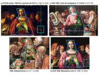 Comparative design analysis of common Compositional Design Traits in design variations of Christ Among the Doctors by Leonardo, Cima, Durer and Luini, as discussed in: Christ Among the Doctors from Leonardo to Luini: An Evolution In Design Composition, authored by Jeffrey A. Dering (2005).