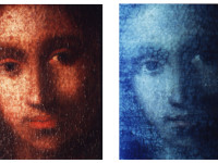Detail comparison by Dr. Walter C. McCrone, Ph.D., Forensic Scientist, McCrone Research Institute of the face of Jesus from Christ Among the Doctors (c.1472-95 and/or c.1500-05), a Painting Study by Leonardo da Vinci under normal light conditions (left) and under ultraviolet light (right).
