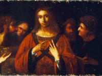 Christ Among The Doctors (c.1472-95 and/or c.1500-05), a Painting Study, Oil on Canvas, 59.5 cm x 89.5 cm, by Leonardo da Vinci (b.1452–d.1519) after Conservation in 1994.