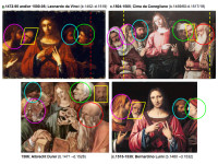 Comparative design analysis of common Figurative Design Traits in design variations of Christ Among the Doctors by Leonardo, Cima, Durer and Luini, as discussed in: Christ Among the Doctors from Leonardo to Luini: An Evolution In Design Composition, authored by Jeffrey A. Dering (2005).