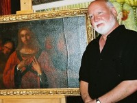 Jeffrey A. Dering (2007) next to early painting study of a Young Christ attributed to Leonardo da Vinci (c.1472-1495 and/or c.1504-1505; dates vary due to Leonardo's ongoing changes & experiments) which Leonardo incorporated into his original prototype design composition of Christ Among the Doctors, which, in turn, directly influenced the variations of the same design by Renaissance Masters including Cima (c.1504-05), Durer (1506) and Luini (c.1515-30).